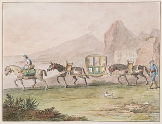 "Horizontal rectangle. A man riding upon a horse which carries luggage beside him, leads the front mule carrying with another a sedan chair in which a woman and a man sit. A driver with a long stick walks at right. A dog accompanies the caravans. In the background are the sea, Vesuvius and other mountains. Framing lines. Signature in the lower right corner: ""1828/Gatta f."""