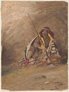 Vertical drawing of a Bedouin figure seated upon a rug on the ground.  His gun leans against his right shoulder.