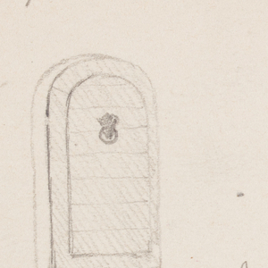 Recto: Top left: dome of a small structure, probably a tomb, shown beside a broken wall; Bottom left:  A ship under sail; Right: corner of a hotel built at the edge of the water; Verso: Left, An arch door with steps; Center: four sketches of a female figure.