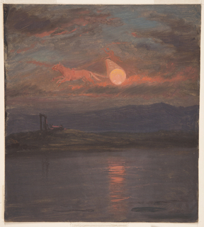 Sunset landscape with a large red sun hanging over distant hills and a body of water in the foreground.  The sun has been made to represent the wheel of a chariot drawn by two horses driven by a robed figure.