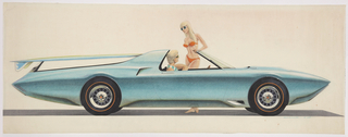 On white ground, a light teal convertible El Camino shown in profile from the right with an open top and streamlined tail fin; figure of a long-haired blonde woman in a red bikini stands on the left side of the car, conversing with a short-haired blonde male figure in the driver's seat, whose elbow leans on the left-side windowsill. The woman's bare feet are visible on the ground below the car's body. A blue surfboard is attached to rear of the vehicle.