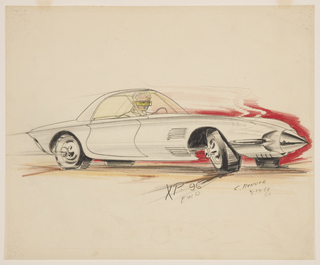 On white ground, a narrow, single-seated silver concept car, on four wheels, with futuristic pointed bumper reminiscent of a bullet, the wheels with protruding circular hubcaps, the cabin wrapped in yellow-toned glass, lines extending from the body of the car indicating speed and movement, the tires turned sharply to the right. Seated inside, the figure of a light-haired man wearing a green-glass eye-shield. At bottom, erased graphite elevation sketch of a similar missile-shaped automobile.