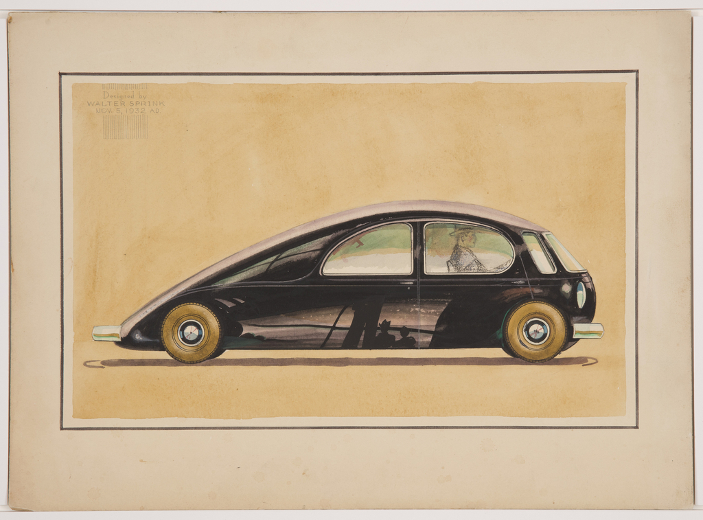 On yellow ground, a black, streamlined teardrop-shaped concept car with gold-tone tires and chrome bumpers, shown in profile from right. On the lower part of the automobile's body, reflection of the surrounding landscape including silhouettes of two figures, one wearing a hat, against a light sky and body of water. Lines possibly indicate a bridge or telephone wires. A sketchy figure shown seated in the driver's seat through the right passenger-side window.