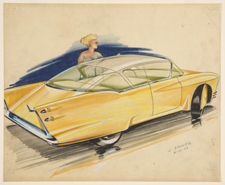 On white ground, a yellow concept car with exaggerated curved roof and protruding rectilinear tail fins shown from rear three-quarter profile view. The front right wheel with semi-circular hubcap in matching yellow to continue the line of the vehicle turned towards the left, the rear right wheel covered by the rear fender. Green interior. Behind the car stands a female figure with blonde hair wearing a pale blue dress.