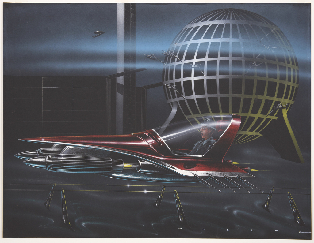 On black ground, a futuristic concept car, with deep red body and chrome accents, the front bumpers resembling rockets or bullets, resting on a six-footed stand comprised of perforated metal trestles. Inside the one-passenger vehicle sits a male figure wearing a suit and hat, enclosed inside a curving 180-degree-view windshield. In the background, a reticulated, openwork metallic sphere at right, and indications of columns or towers at left.