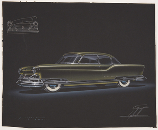 On black ground, a frontal view from three-quarter perspective of  a yellow-green car with chrome bumpers and detailing and whitewall tires facing left. Cylindrical chrome fenders cover the top third of each wheel, the front headlights protruding from dagmars.  At upper left, a view of the front detailing of the automobile in white outline, the hood raised at the right side. In the lower right corner, a profile view of the windshield and driver's side windows in white outline.