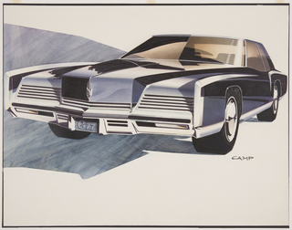 On white ground, an Oldsmobile concept car shown from three-quarter frontal perspective, lit from the lower right, casting a large, dark shadow along the left background. The automobile's cabin has tinted windows, and the front bumper and headlights characterized by horizontal metal grills; the wheels with bright, metallic hubcaps; the angular body realized in a rich, reflective black.