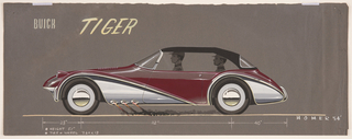 On gray ground, left-side view of a Buick concept automobile in profile. Automobile has a burgundy upper body, black roof, and chrome lower body and is distinguished by curvilinear forms, the wheel wells forming large teardrop chrome shapes pointed toward the rear. Behind the front left tire, three jets emit orange flames and a trail of black smoke. Figures of a driver in the car's front and a passenger in the rear viewed in profile, each wearing a cap. Inscription above, scale and inscriptions below.