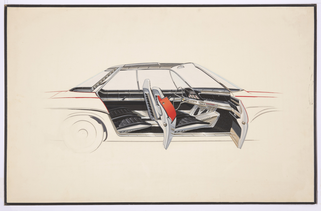 On white ground, design for an automobile viewed in profile from the right, the front and rear doors open to show the interior design scheme. Exterior of the vehicle shown in black and red outline, interior richly detailed: four chrome metal seats with black leather upholstery distinguish the front and back seats, and black leather covers the walls of the interior with a band of chrome at center. Dashboard has four round chrome dials with red accents.