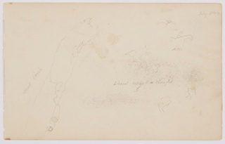 Horizontal rectangle. Brief sketches of figures, one winged, one on horseback, with a graphite inscription. At left, part of a tree trunk with peeling bark. Verso: standing boy seen from the back wearing a hat and smock.