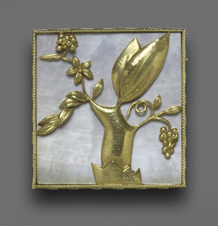 Square brooch with twisted gold border and stylized depiction of a grapevine with gold chasing against a mother-of-pearl ground.