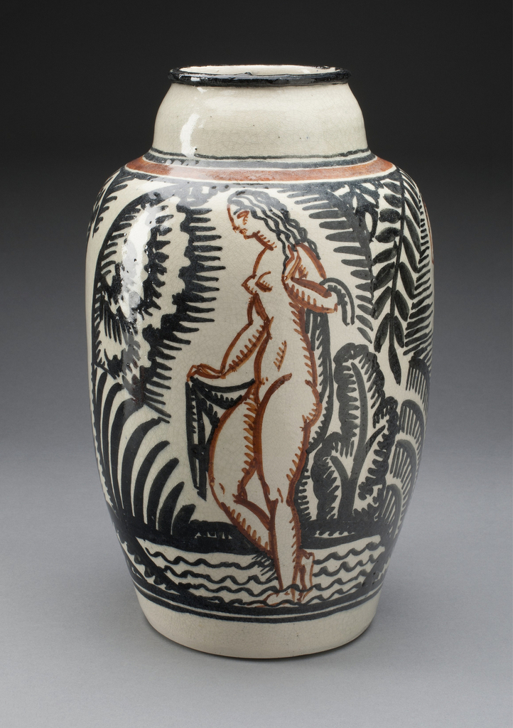 Ovoid earthenware lead-glazed vase with polychrome decoration depicting a nude figure with drape wading in water and surrounded by stylized foliage.