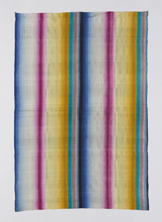 Vertical striations of saturated gradients of azure, white, magenta, yellow, cyan and mauve block-printed on plain silk weave.