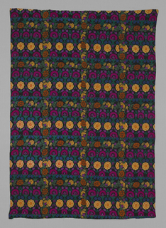 Silk, twill-weaved panel featuring repeating squares of magenta, yellow and rust-colored blooms with leaves accented by small blue blossoms.