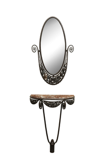 This slender console has its original red marble top above a wrought iron floral and foliate skirt.  The oval wrought iron mirror above has a matching scrolling floral and foliate crest.