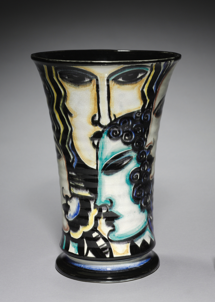 Fluted earthenware vase on short rounded foot with glazed allegories of the four seasons outlined and shaded in black with yellow, blue, teal and red accents.