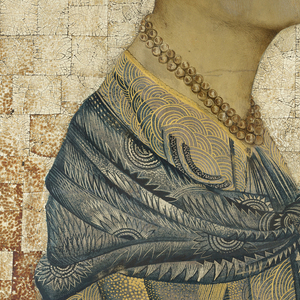 Half-length mixed media portrait of Hattie Carnegie; sitter has short-cropped hair and wears a gold-shot blue dress and blue shawl and is set against a collage-like tessellation of off-white and brown egg shell.