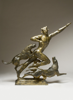 Gilt bronze figure of Actaeon metamorphosing into a stag in mid-stride while Diana's hounds attack with open mouths; the planted left foot and outstretched left arm of the figure establish a dynamic diagonal rhythm while the fierce climbing and leaping hounds embody kinetic energy.