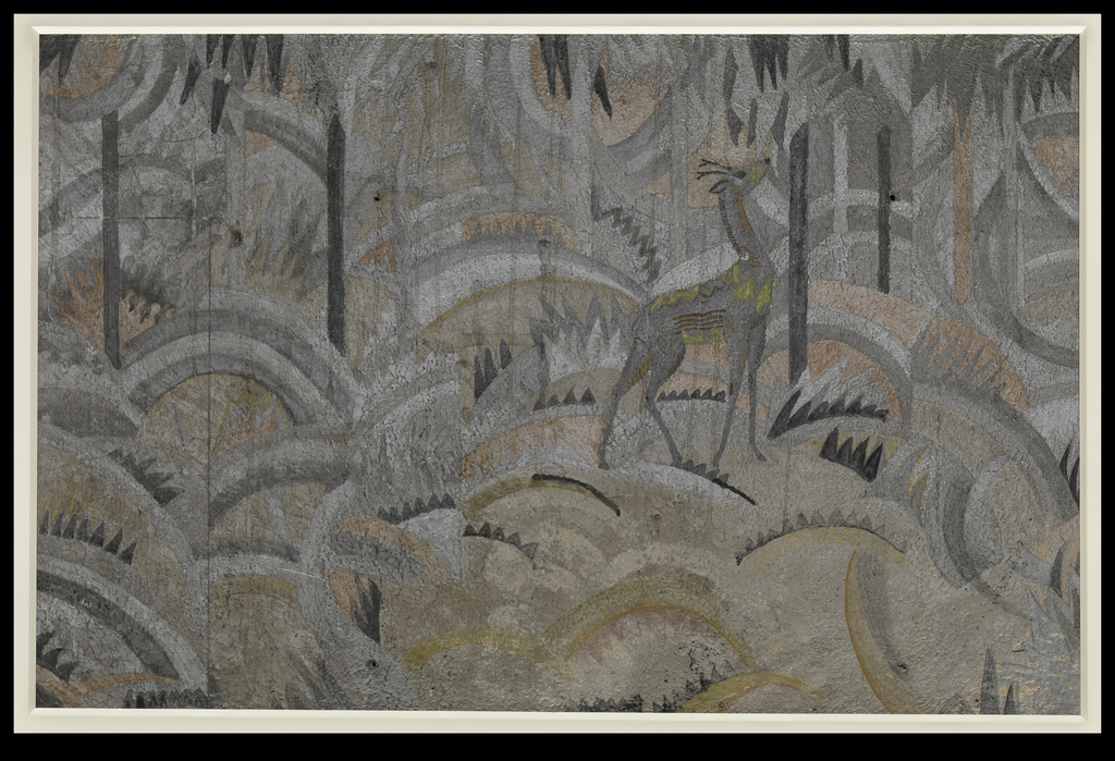 Painted plywood panel depicting a stylized forest scene with rolling hills, leafy trees and loan stag standing erect; color palette of moody silver, charcoal, white and beige with acid-green accents on the animal.