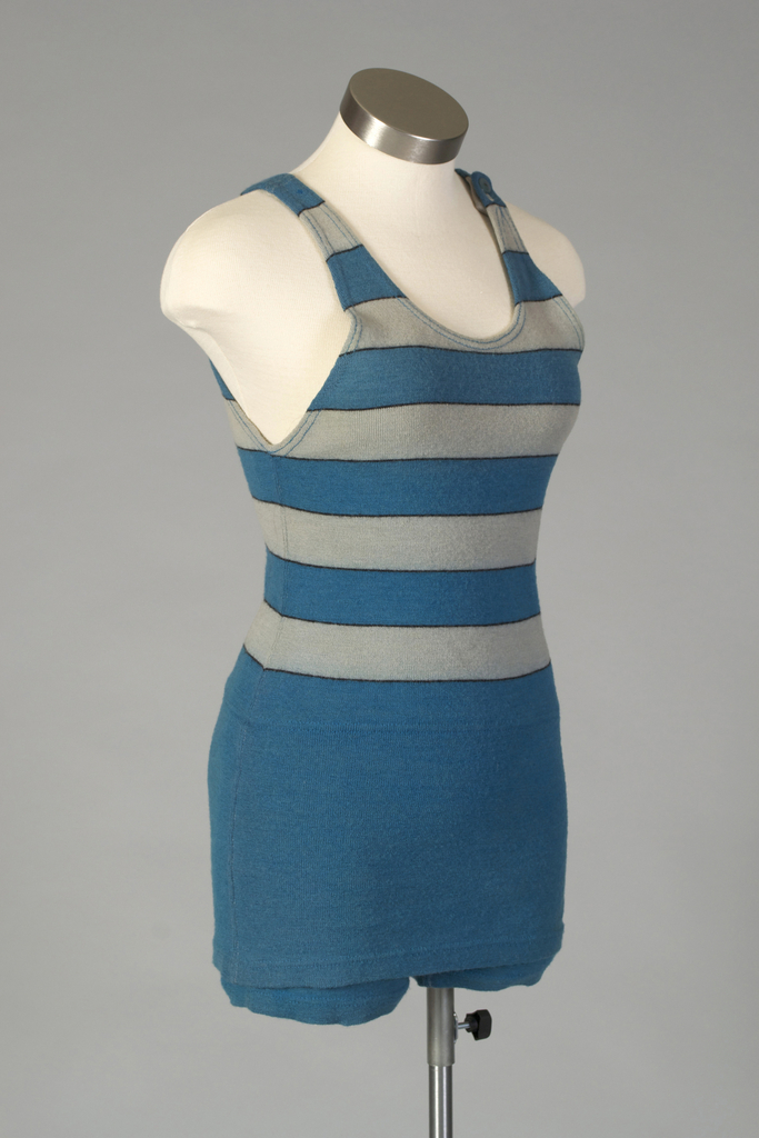Women's bathing costume with grey and teal striped top sewn to teal trunks.