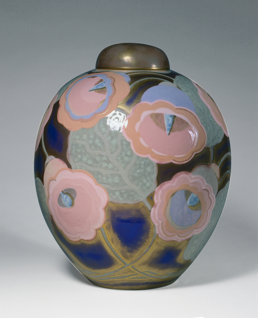 Ovoid covered porcelain jar with colored pâte-sur-pâte, glazes, and gilding; the vessel's surface is covered with mauve clochette blooms, leaves and stalks against a blue ground and outlined by shadowy gold.