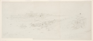 The drawing is in the right part of the sheet, bordered at left by a line. Structures in the ruins and the continuation of the Southern quarry are shown in the foreground, the modern town in the left distance. The palin and the mountain range are in the background. Inscribed with figures and a cross, place and date at bottom, see Inscriptions for additional words.