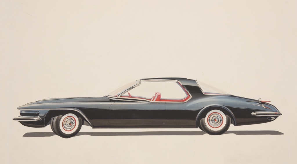 On white ground, left side profile view of a car with highly reflective black body and red leather interior, whitewall tires with red details, curving windows, and chrome accents. Red dagmar taillights at rear, a shadow underneath the body of the car.