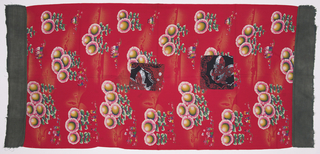Quilt cover for a single bed. Red ground with design of stylized sunflowers and four groups of children engaged in reading, singing in a chorus with the red kerchiefs of the Young Pioneers, and dancing, some in ethnic costume.