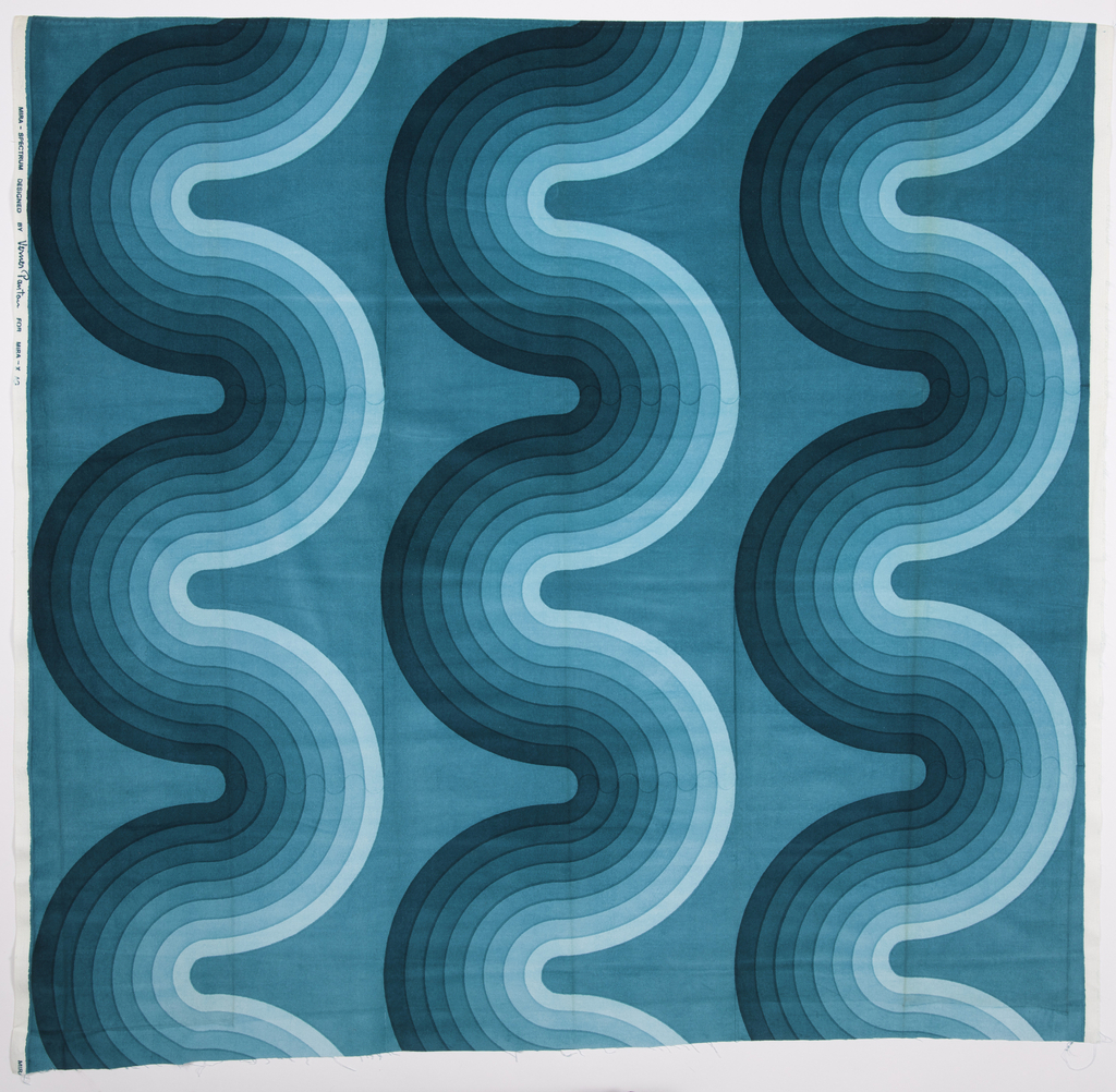 Large sample of silk-screen printed cotton velvet with a design of striped, curving lines in eight gradated shades of turquoise.
