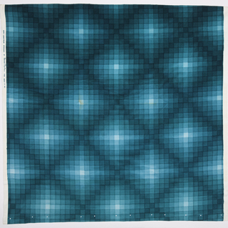 Large sample of silk-screen printed cotton velvet with a checkerboard design of squares in eight gradated shades of turquoise, the darkest shades forming a large diamond lattice.