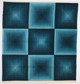 Large sample of silk-screen printed cotton velvet with a design of concentric squares in eight gradated shades of turquoise.