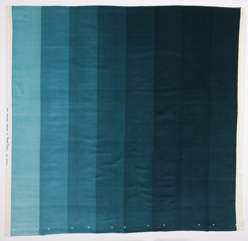 Large sample of silk-screen printed cotton velvet with a design of vertical stripes in eight gradated shades of turquoise, filling the fabric width.