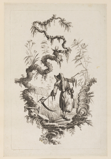 Print, Figure with Scythe Under Bough, 1728-1777