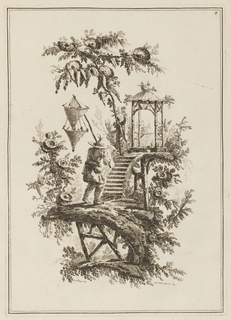 """Decorative landscape with Chinese figure carrying two nets on a pale walking toward steps which lead to a small pavilion. Two framing lines. Right top corner: """"4""""; bottom of the design: """"j. pillement del.""""; """"j. j. avril.sculp.1771.dec."""""""