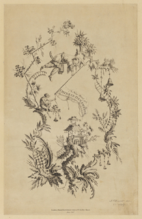 Chinoiserie escutcheon in which a man leaning over a crescent and a monkey hold a banner with the title over a pagoda.