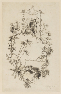 Chinoiserie escutcheon at the top of which a Chinese sits holding a circular perch in which a bird sits.