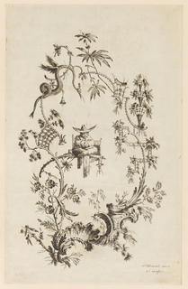 Chinoiserie escutcheon in which a figure with arms folded and legs crossed before him sits. A snake in the border.