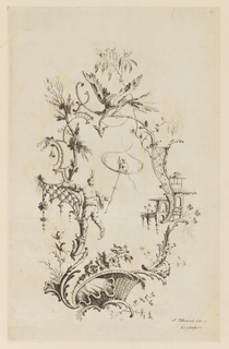 Chinoiserie escutcheon, to the left side of which a man clings and holds a perch to which a small animal resembling a cat is chained. Fantastic bird above.