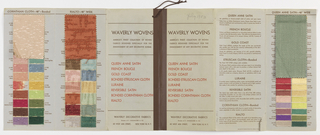 """Sample book of """"Waverly Wovens"""" containing small woven swatches such as Queen Ann Satin, French Boucle, Gold Coast, Bonded Estruscan Cloth, Luraine, Reversible Satin, Bonded Corinthian Cloth, and Rialto."""