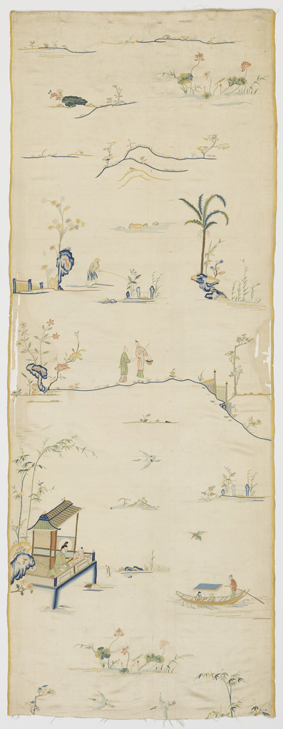 Vertical panel of white satin embroidered in multicolored silks in a design of landscape scenes. At bottom is lotus and bamboo. Above is a pagoda over the water where a woman and child sit watching a boat with two passengers and a boatman. Above this, are small group of trees, rocks, birds, etc. At center is a group of two women with basket and staff. Above them is a fisherman. At top, fragments of landscape with a portion of a tree with feathery foliage, clouds and a flying bird.