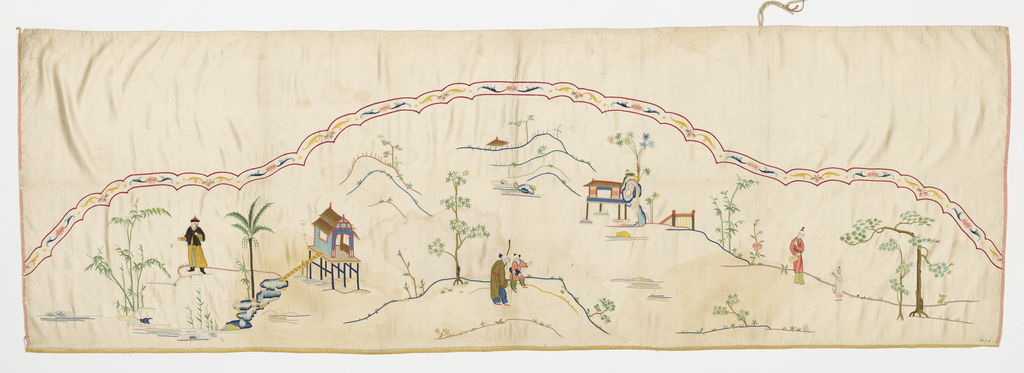 Panel of white satin with horizontal design embroidered in multicolored silks. Lunate-shaped design with double scalloped border outlining the top. Landscape scene with two small houses built on piles over water. At left, man with a pipe in his hand. In center, boy and a man with a staff. At right, a woman with fan and a girl with basket and flowers.