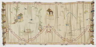 Valance with a white satin ground embroidered in multicolored silks. Double scalloped border in red with flowers and foliage motifs in the center of the scallops. Main ground has a landscape design with trees and rocks and small buildings on piles over water. Boat with a young couple and a boatman, and a man catching frogs. Fringe on two ends and backed with blue satin.