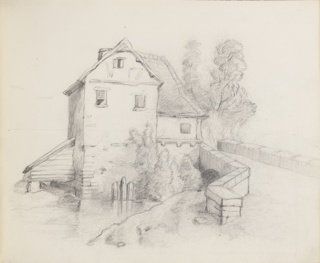 Sketchbook drawing of a millhouse on a stream. The building is at center, the stream running in front of it. Bridge at right and trees beyond.