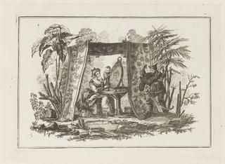 """Print, Women Looking in Mirror, from """"Nouveau Cahier de Six Feuilles De Différents Sujets Chinois Historiés"""", 1773"""