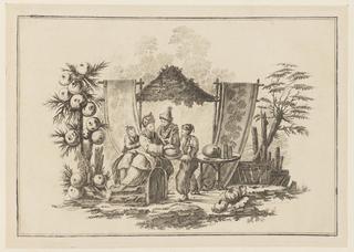 """Print, Figures with a Squash, from """"Nouveau Cahier de Six Feuilles De Différents Sujets Chinois Historiés"""", 1728-1808"""