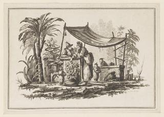 """Print, Figures with a Vase of Flowers, from """"Nouveau Cahier de Six Feuilles De Différents Sujets Chinois Historiés"""", 1728-1808"""