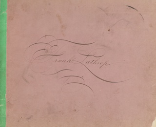 Horizontal format sketchbook by artist Francis Augustus Lathrop containing several graphite sketches. At the center of the cover, in ornate script: Frank Lathrop. Back cover consists of colorful marbled paper with black leather at the left side and right corners.