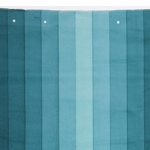 Large sample of silk-screen printed cotton velvet with a design of vertical stripes in eight gradated shades of turquoise in mirrored succession, forming two columns across the width of the fabric.