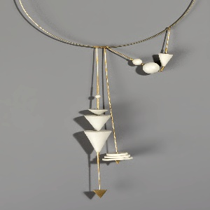 Gold hoop with a silver catch and hand turned, geometrically shaped  jasperware  beads.
