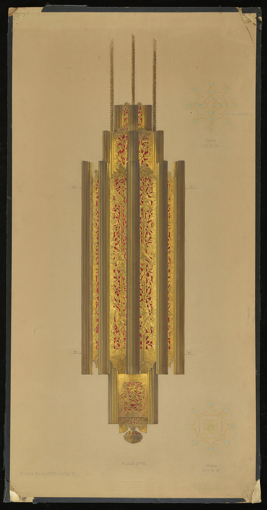 Drawing, Design for Chandelier in the Lobby of the Barclay-Vesey  (New York Telephone, Verizon) Building, New York, NY